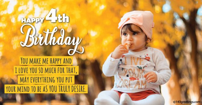 4th Birthday Wishes for Baby Girl